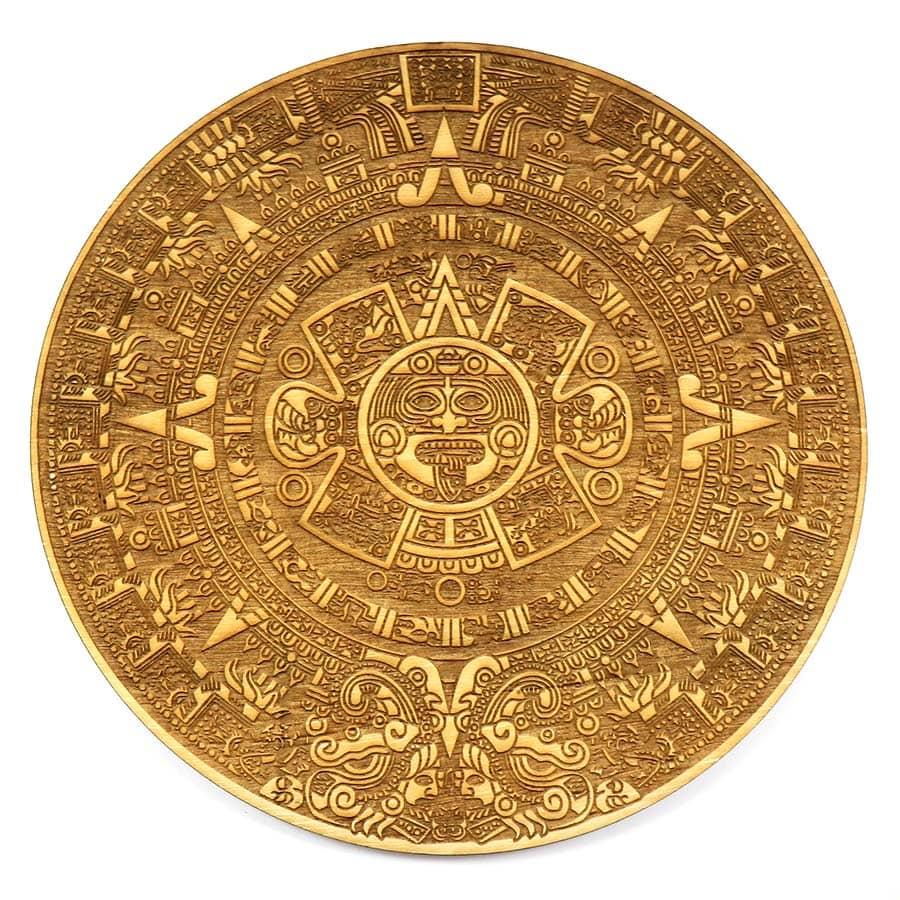 Calendario Azteca Grabado en Madera contrachapada de 5mm