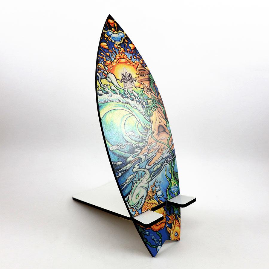 Soporte móvil cortado en MDF de 3mm con forma de tabla de SURF y personalizable con foto