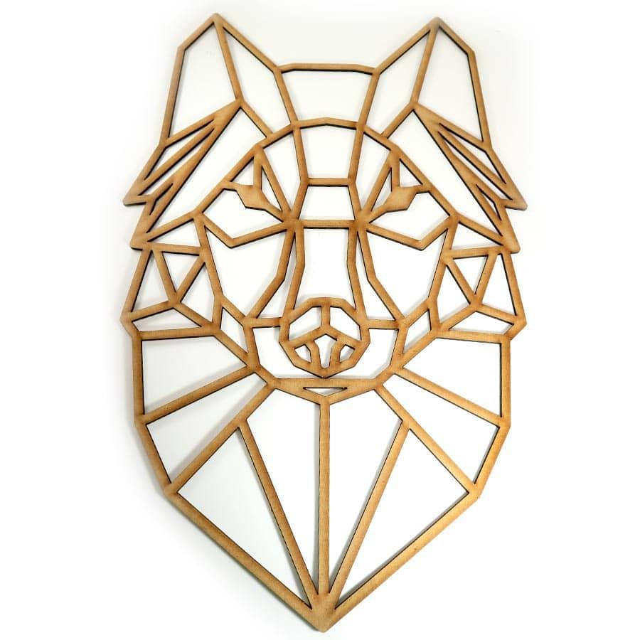 Lobo poligonal cortado en MDF de 3mm