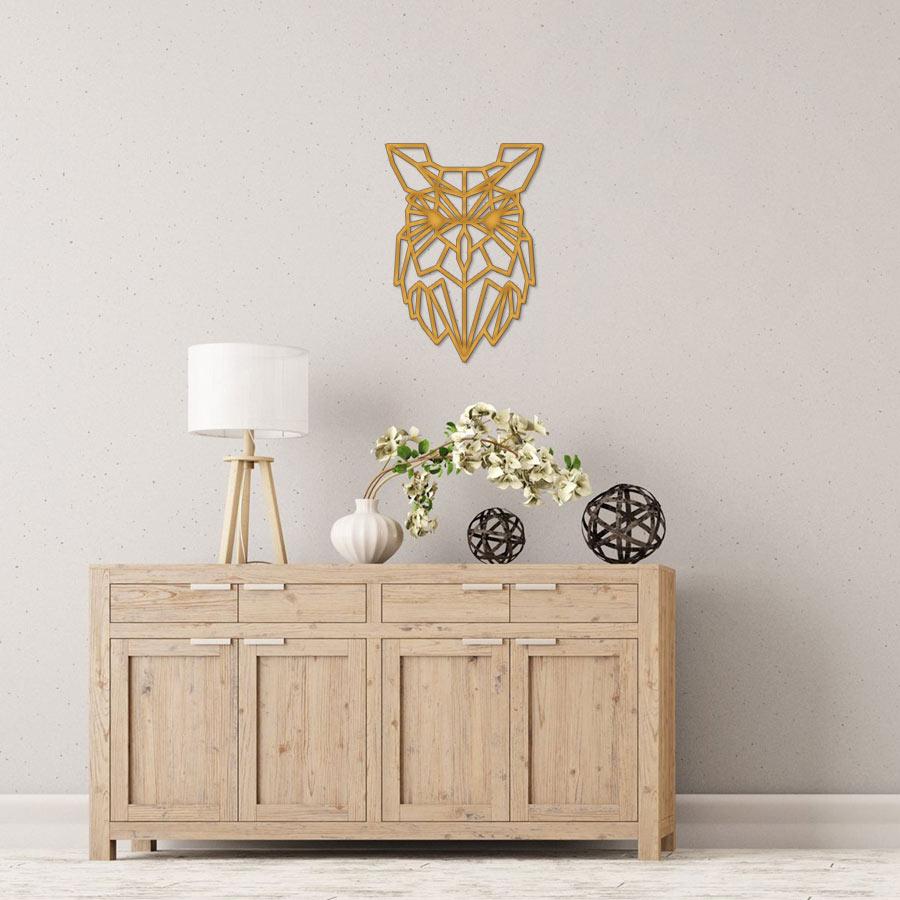 Buho con forma poligonal cortado con láser en MDF de 3mm de espesor, ideal para decorar una pared o una puerta, se puede pintar y darle el color que más te guste.